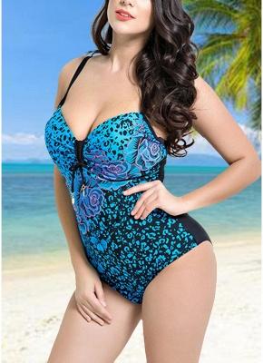 Women Large Size One Piece Swimwear Push Up Padding Wireless Swimsuit_6