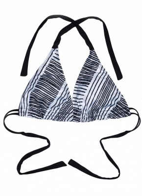 Halter Striped Backless Push Up Bikini_4