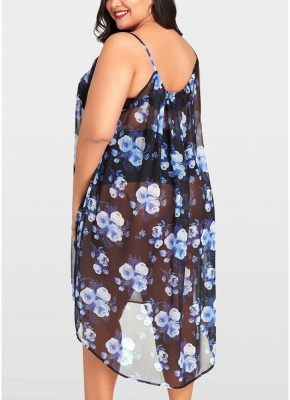 2xl Women Sheer Chiffon Floral Sexy Bikini Cover Up Transparent Asymmetric Beachwear Mini Dress_2