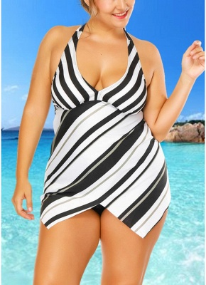 Plus Size Striped Print Asymmetrical Hem Sexy Bikini Set_3