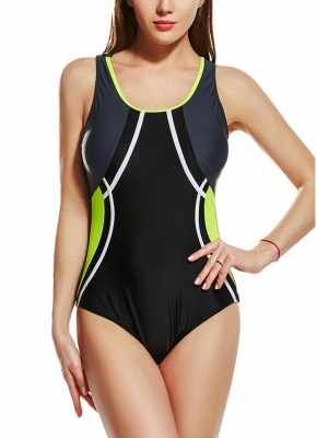 Women Sporty One Piece Swimsuit Racer Back Contrast Splicing Padded Swimwear Playsuit_2