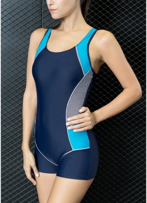 Women One Piece Swimwear Color Splice Cut Out Padding Bathing Suit Swimsuits_6