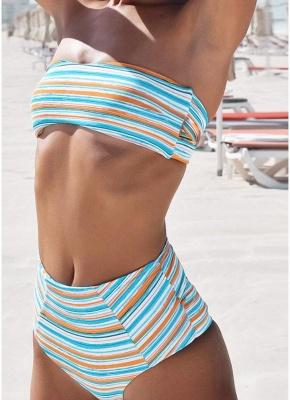 Women Strapless Swimsuit Striped Print Halter Bikini Set Beach Swimwear Bathing Suit_4