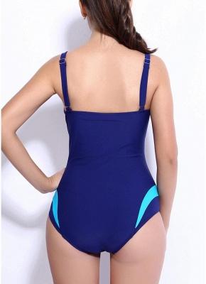 Femmes maillots de bain une pièce épissure de couleur Rembourrage sans manches maillot de bain sans fil Maillots de bain_5