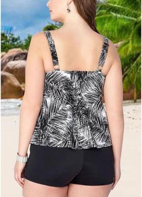 Women Plus Size Palm Leaf Tankini Set Boyshorts Two Piece Bathing Suits Swimwear_3