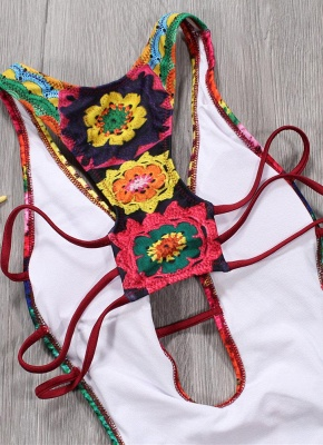 Women One Piece Swimsuit Plunge V Padded Colorful Crochet Patterns Rainbow Print Bandage Cut Out Backless  Monokini_6