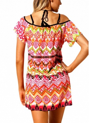 Women Beach Dresses Cover Ups Geometry Print Halter Tie Mini Sexy Bikini Beachwear_4