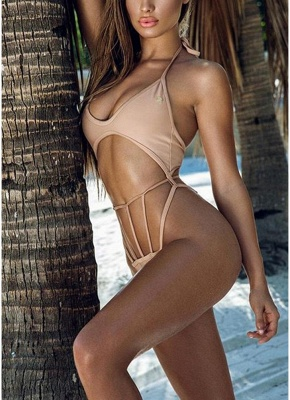 Women Halter Wire Free Padded Cup Low Waist Hollow Out Thong Sexy Bikini Set_1