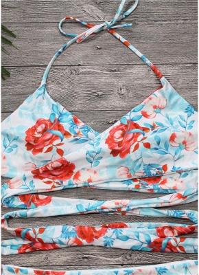 Floral Halter Swimsuit Backless Strappy Bikini Set_4