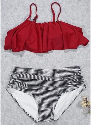 Women Sexy Bikini Set Ruffles High Waist Ruched Padded Wireless Two Piece Swimsuit Swimwear_1