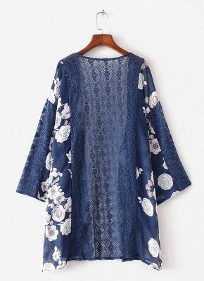 Cardigan en mousseline de soie d'été imprimé floral évider Kimono féminin_4