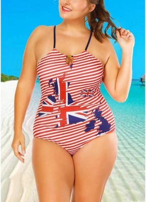 Plus Size Striped Flag Halter Hollow Out One Piece Swimsuit_1