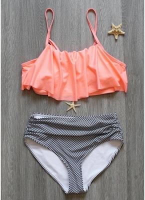 Women Sexy Bikini Set Ruffles High Waist Ruched Padded Wireless Two Piece Swimsuit Swimwear_4