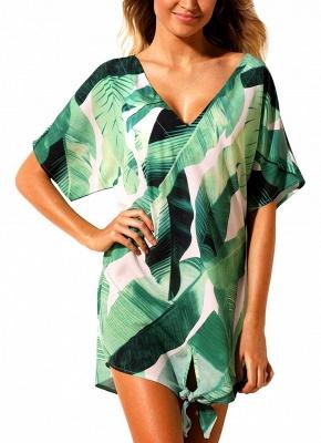 Women Beach Dresses Cover Ups Plants Print Tie Knot Mini Bikini Beachwear_5