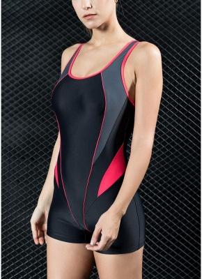 Women Sports One Piece Swimsuit Swimwear Shorts Splice Racing Training Bathing Suit_4