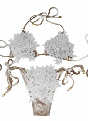 Women Velvet Swimsuit Halter Crochet Lace Tie Wireless Swimwear Bikini Beach Wear_1