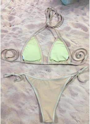 Women Bikini Set Sequined Stars Tied Waist Padded Two Pieces Swimsuit Swimwear_5