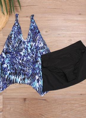 Plus Size Padded Swimsuit Push Up Skirt_4