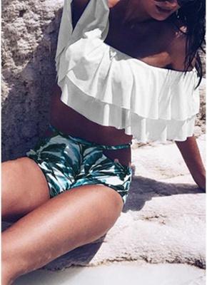 Women Sexy Bikini Set Off the Shoulder Slash Ruffles Cut Out Waist Leaves Print_6