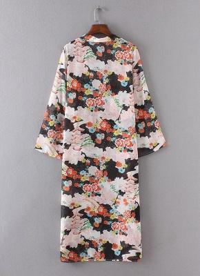 Bikini Cardigan en mousseline de soie d'été couvrez-vous imprimé Kimono Boho Long femmes_4