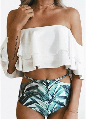Women Sexy Bikini Set Off the Shoulder Slash Ruffles Cut Out Waist Leaves Print_1