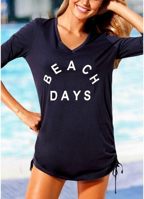 Women Beach Sexy Bikini Cover Up Tie Side Summer Dress Casual Swimwear_2