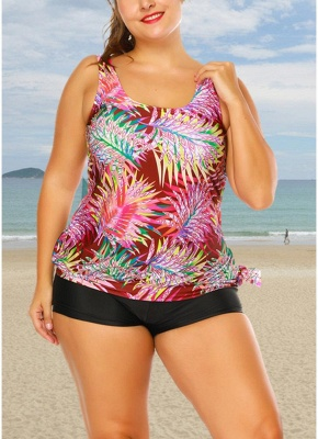 Plus Size Print Tankini O Neck Sleeveless Two Piece Swimwear_3