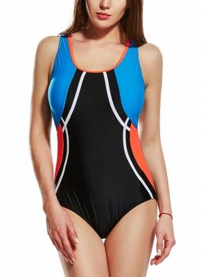 Women Sporty One Piece Swimsuit Racer Back Contrast Splicing Padded Swimwear Playsuit_1