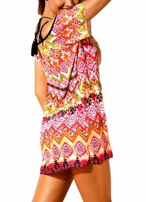 Women Beach Dresses Cover Ups Geometry Print Halter Tie Mini Sexy Bikini Beachwear_5