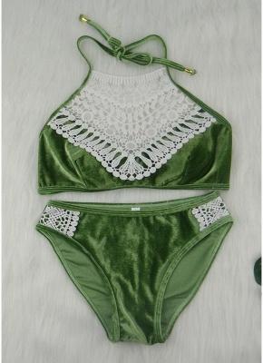 Velvet Crochet Lace Halter Neck Push Up Low Waist Bikini Set_3