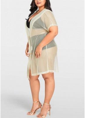 Women Sexy Bikini Cover Up Fishnet Hooded Cardigan Plus Size Outerwear Beachwear_4