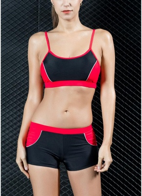 Sports Splicing Professional Racing Two Piece Swimsuit_1