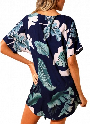 Women Beach Dresses Cover Ups Plants Print Tie Knot Mini Bikini Beachwear_7