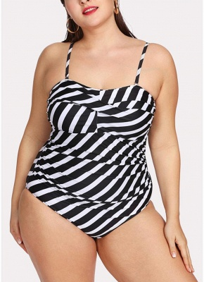 Plus Size Striped Shoulder Strap Sleeveless One Piece Swimsuit_1