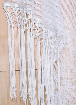 white one size Sheer Lace Tassel Kaftan Beach Cover Up_6