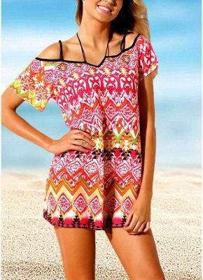 45d4b19a227fe Women Beach Dresses Cover Ups Geometry Print Halter Tie Mini Sexy Bikini  Beachwear