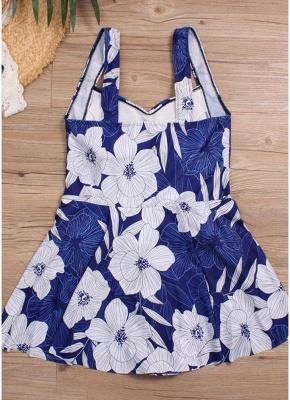 Women Plus Size Swimsuit Floral Print High Waist One Piece Sexy Bikini Swimwear_4