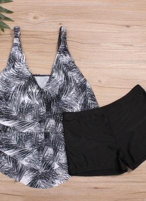 Women Plus Size Palm Leaf Tankini Set Boyshorts Two Piece Bathing Suits Swimwear_4