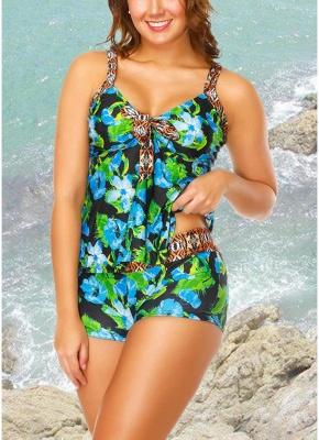 Floral Strap Tankini Top Shorts Set Bathing_4