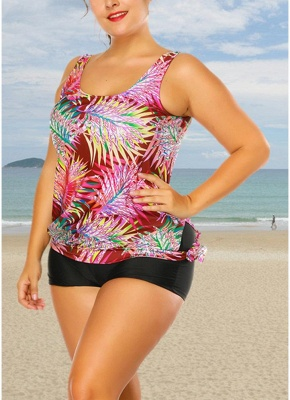 Plus Size Print Tankini O Neck Sleeveless Two Piece Swimwear_4