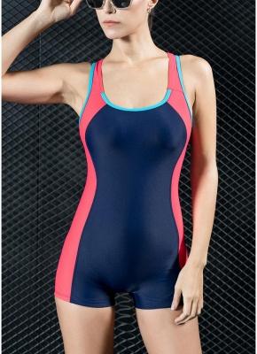 Women Sports One Piece Swimsuit Swimwear Shorts Backless Bathing Suit Swimming Suit_1