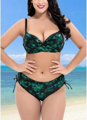 Plus Size Metallic Floral Print Underwire Push Up High Waist Sexy Bikini_4