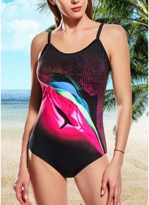 Women One Piece Swimsuit Contrast Color Dot Print Padded Swimwear Bathing Suit_1