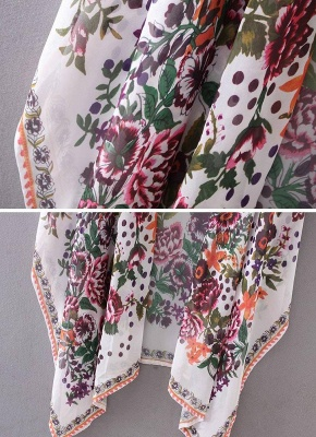 size Chiffon Floral Print Asymmetric Loose Long Kimono_7