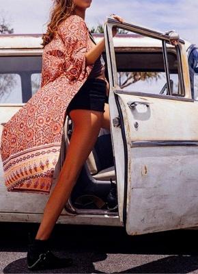 Fashion Chiffon Allover Print Front Open Women's Loose Long Thin Kimono_3
