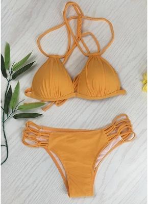 Women Solid Triangle Lace Up Bandage Strappy Braided Padded Backless Bikini Set_2