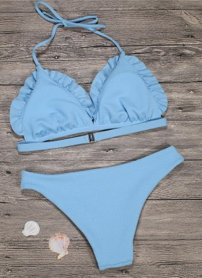 Women Bikini Set Push Up Swimwear Swimsuit Ruffle Low Waisted Padded Two Piece Bathing Suit Beach Wear_5