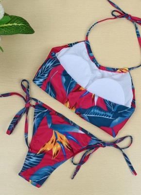 Floral Print Halter Wireless Padded Two Piece Sexy Bikini Set Swimwear_7