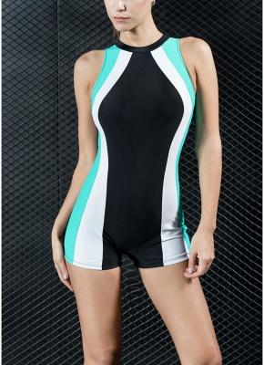Women Sports One Piece Swimsuit Racing Swimwear Bathing Suit Beachwear Boxer Bodysuit_1