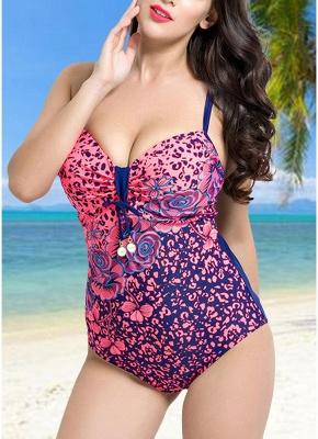 Women Large Size One Piece Swimwear Push Up Padding Wireless Swimsuit_1